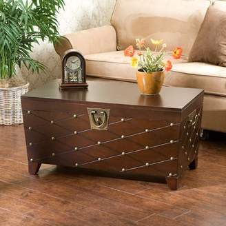 Southern Enterprises Longwood Nailhead Coffee Table Trunk, Espresso