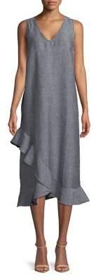 Lord & Taylor Plus Ruffle V-Neck Linen Dress