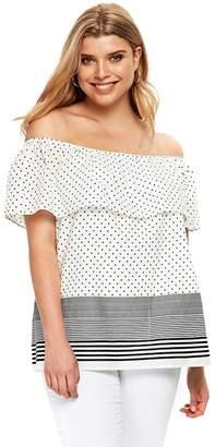 Evans Monochrome Spot And Striped Print Bardot Top