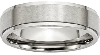Primal Steel Primal Steel Stainless Steel Ridged Edge 6mm Brushed and Polished Band
