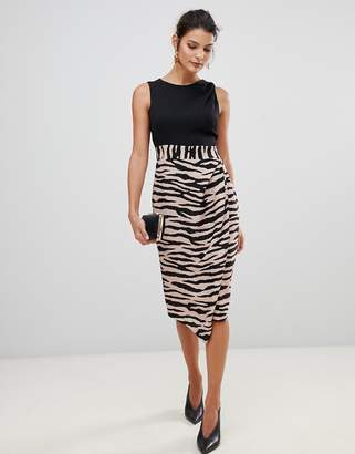 Closet London 2 in 1 sleeveless pencil dress with tiger print skirt