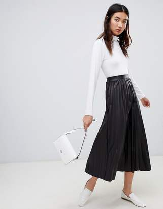 Asos DESIGN pleated coated jersey midi skirt