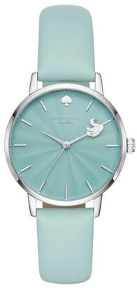 Kate Spade Metro Swan Leather Strap Watch, 34mm