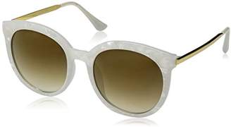 Zerouv Womens Oversized Marble Finish Metal Temple Mirrored Lens Round Sunglasses