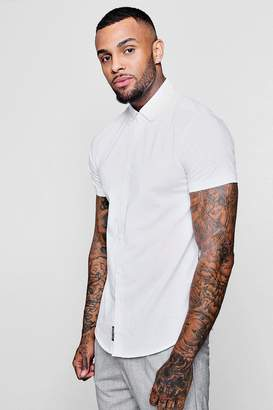 boohoo Short Sleeve Slub Shirt In Muscle Fit