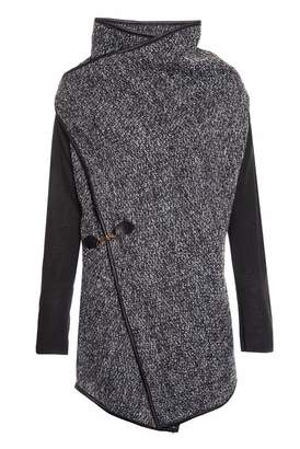 Quiz Black and Grey Contrast Sleeve Waterfall Jacket