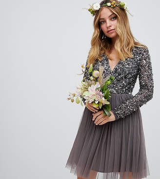 Maya Petite long sleeve wrap front mini dress with delicate sequin and tulle skirt in charcoal