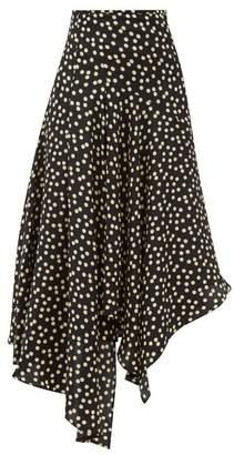 Petar Petrov Rai Polka Dot Asymmetric Silk Skirt - Womens - Black White