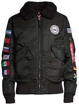 Alpha Industries Men's B15 Coalition Forces Flight Shearling-Collar Jacket
