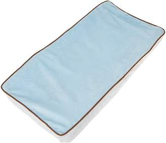 Bacati Velour Blue/White/Chocolate Plush Changing Pad Cover