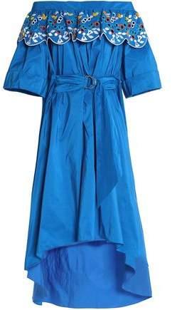 Off-The-Shoulder Broderie Anglais Taffeta Midi Dress