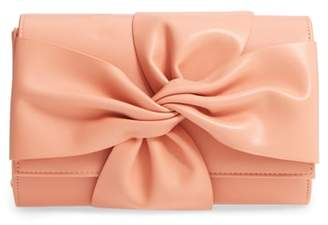 Street Level Faux Leather Bow Clutch