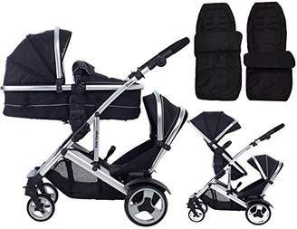 Kids Kargo Duel DS Double Twin tandem pushchair with combo carrycot pram and toddler seat includes 2 FREE footmuffs Newborn & toddler travel system buggy, Midnight Black