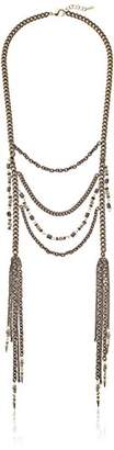 Ettika Burning Bridges Mixed Metal Multi-Chain with Tassels in Pyrite Necklace