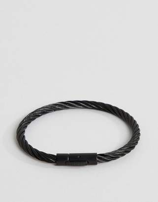 Tommy Hilfiger cable wire bracelet in black