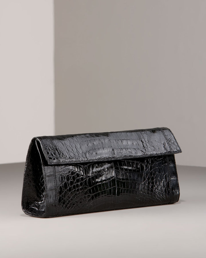 Nancy Gonzalez Croc Flap Clutch, Black