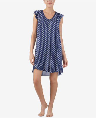 Ellen Tracy Printed Contrast-Hem Nightgown