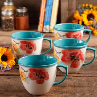 THE PIONEER WOMAN The Pioneer Women Flea Market 16 oz Decorated Coffee Cup, Floral Turquoise, Set of 4