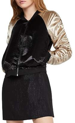 BCBGeneration Ruched-Sleeve Satin Bomber Jacket