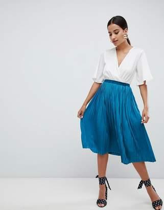 Missguided Satin Pleated Midi Skirt