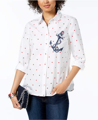 Tommy Hilfiger Star-Print Anchor-Graphic Shirt, Created for Macy's