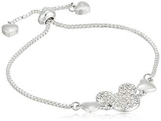 Disney Women's Plated Crystal Mickey Adjustable Pull Bracelet