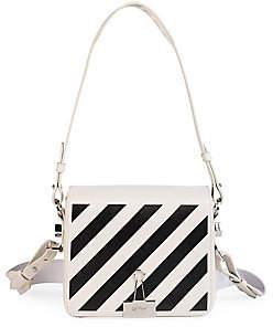 Off-White Women's Diagonal Stripe Leather Flap Bag