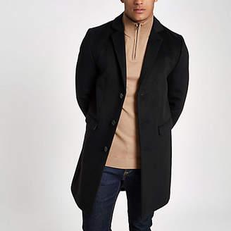River Island Black button-down overcoat