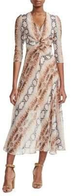 Maje Repena Snake-Print A-Line Dress