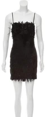 Blumarine Silk Feather-Accented Dress