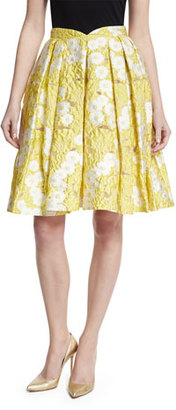 Zac Posen Floral Jacquard Pleated Skirt, Yellow $1,290 thestylecure.com