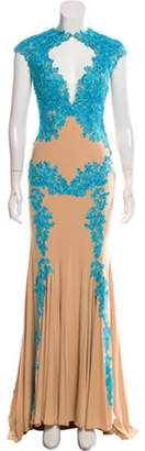 Jovani Sleeveless Lace-Accented Gown w/ Tags Tan Sleeveless Lace-Accented Gown w/ Tags
