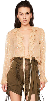 Saint Laurent Polka Dot Georgette Ruffle Front Blouse in Beige & Gold | FWRD