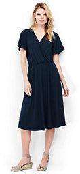 Lands' End Women's Tall Flutter Sleeve Surplice Dress-Radiant Navy $69 thestylecure.com