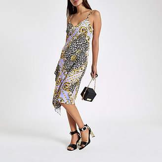 River Island Womens Lilac leopard print satin frill slip dress