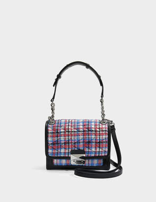 Karl Lagerfeld K/Kuilted Mini Handbag in Tweed Effect Raffia in Multicolour Calf and Raffia