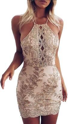 Aecibzo Women's Short Beaded Party Dress Halter Bodycon Club wear Mini Dresses(S,)