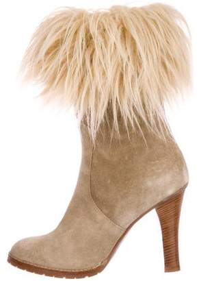 Marc Jacobs Fur-Trimmed Suede Boots