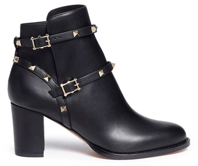 Valentino 'Rockstud' double strap leather ankle boots