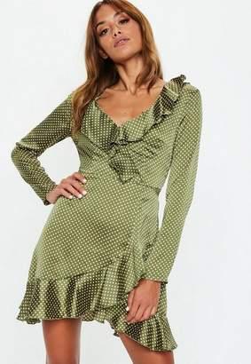Missguided Khaki Polka Dot Tea Dress