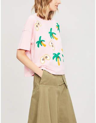 Mini Cream Embroidered cotton-jersey T-shirt