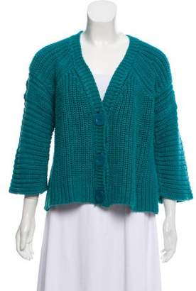 Chloé Rib-Knit V-Neck Button-Up Cardigan
