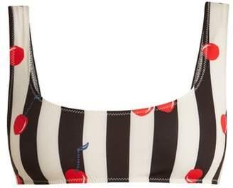Solid & Striped The Elle Cherry Print Bikini Top - Womens - Black Multi