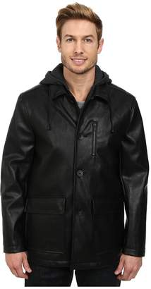 Kenneth Cole New York Faux Leather Moto w/ Hood Men's Coat