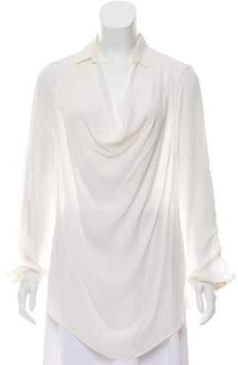 Eleventy Long Sleeve Silk Top