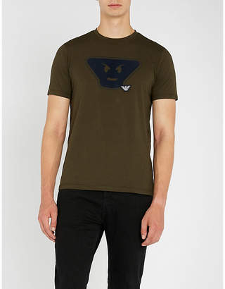 Emporio Armani Emoji-print cotton-jersey T-shirt
