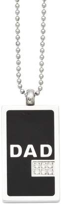 """Forza Men's Stainless Steel 24"""" Black """"DAD"""" DogTag Necklace"""
