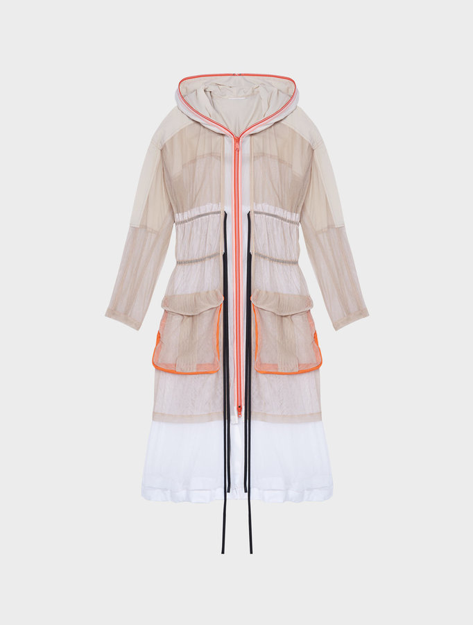 DKNYRunway Extra Long Sleeve Hooded Coat With Double Drawstring