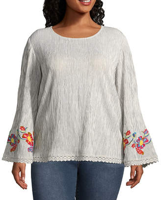 NEW DIRECTION Long Sleeve Embroidered Blouse with Lace Trim - Plus