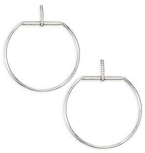 Roberto Coin Women's Classic Parisienne Large Circle Diamond and 18K White Gold Earrings